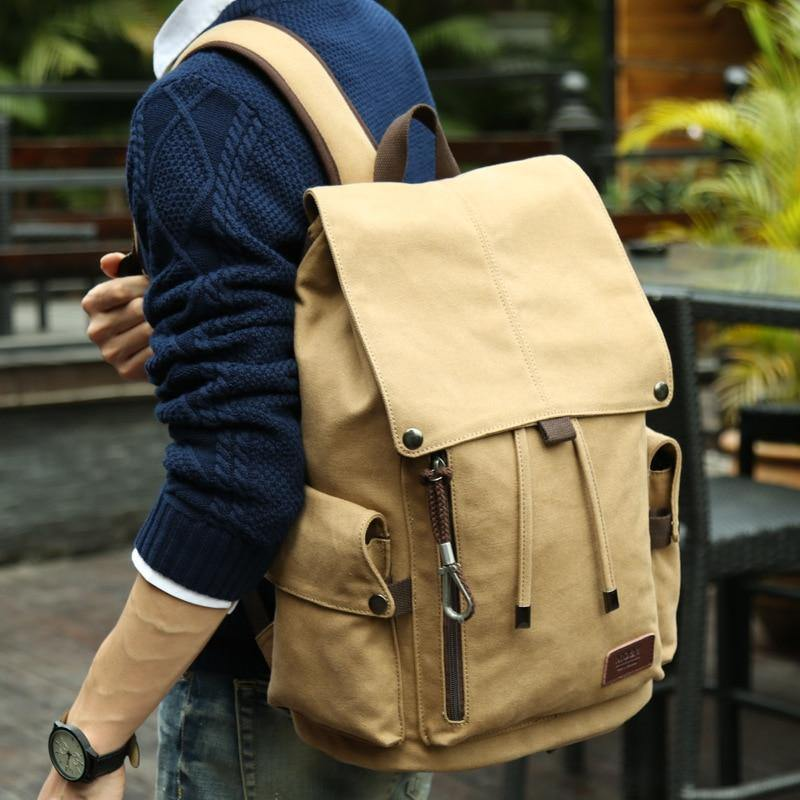 MOYYI Canvas Men's 14inch Laptop Trend Backpack USB Charging  Middle School Student Backpack Leisure Travel Backpack