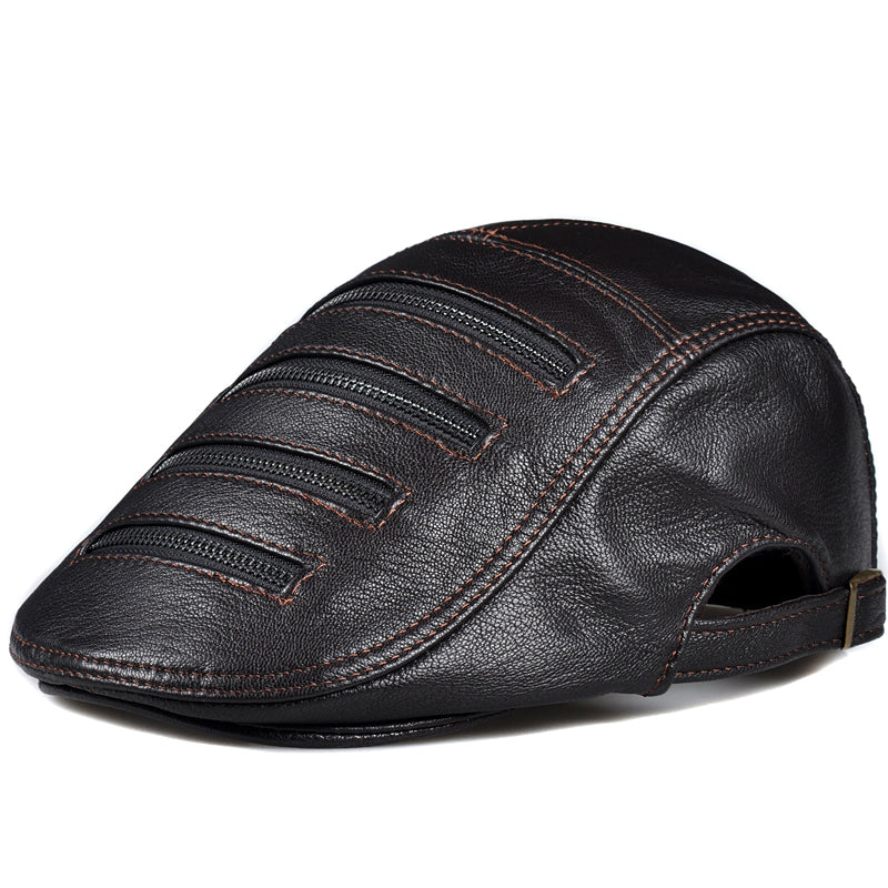 Pudi man genuine leather beret cap hat 2019 brand new boy male black brown color caps hats HL820