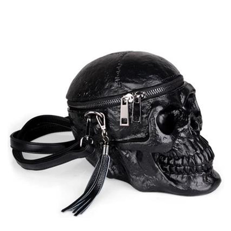 Women Black Leather Skull Shape HandBag