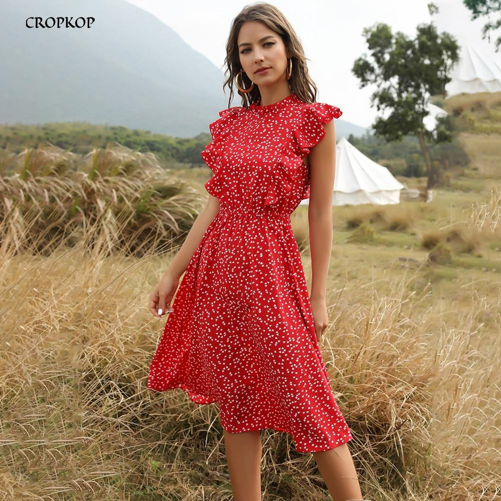 Chiffon Dress Women Elegant Summer Floral Print Ruffle A-line Sundress Casual Fitted Clothes To Knees 2020 Red Dresses For Women