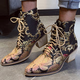Stylish Women Chelsea Boots Embroider Ethnic Winter Ankle Boot Lace Up Pointed Toe High Heel Shoes Warm Cowboy Botas Mujer Retro