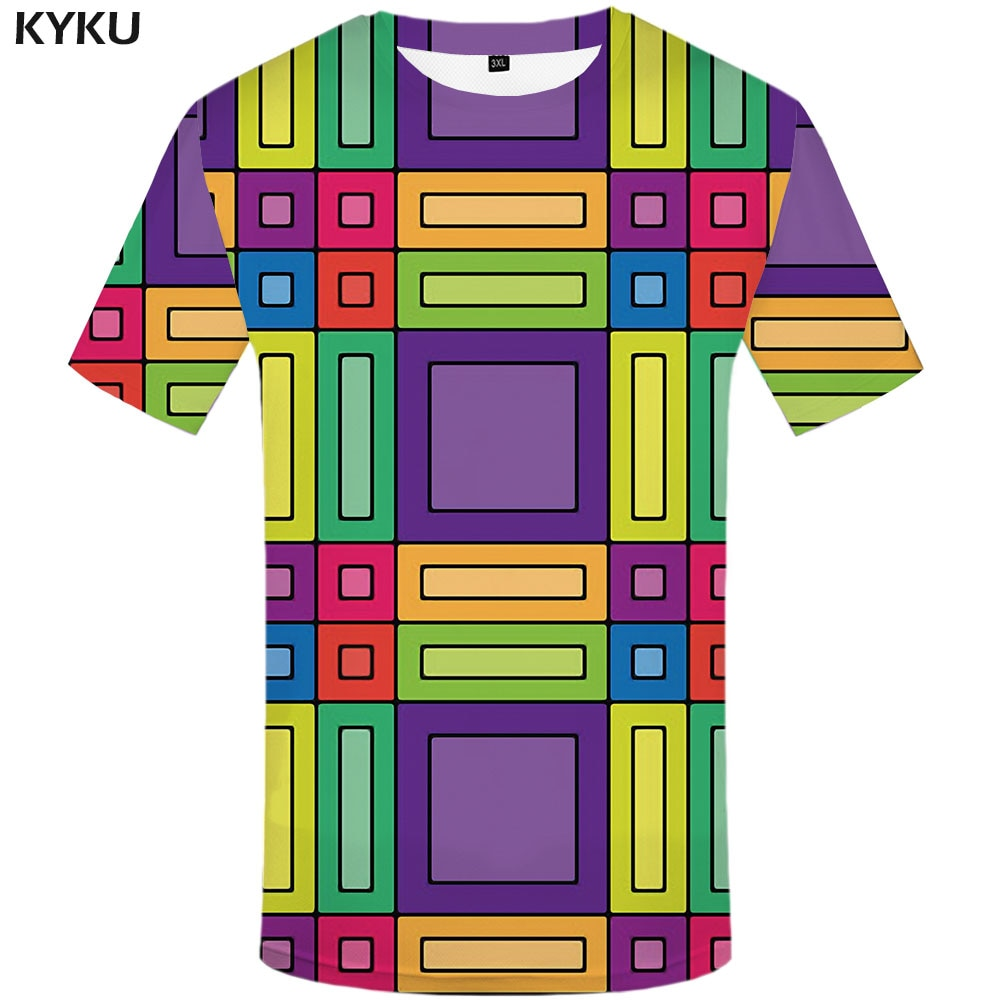 3d Tshirt Psychedelic T shirt Men Cartoon Tshirt Printed Geometric Tshirts Casual Colorful Funny T shirts Harajuku Anime Clothes