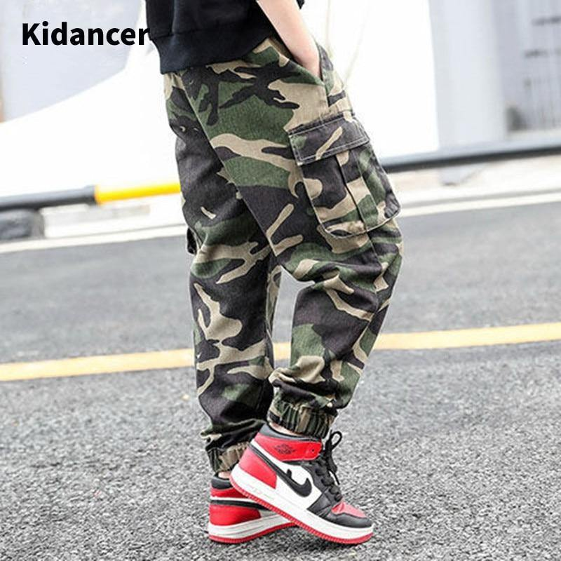 Brand Camo Pants Teenagers Sweatpants For Boys Cotton Pants Kids Casual Loose Jeans Boy Children's Clothing Full Length