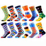 Men 12 Pairs/Lot Cotton Colorful Crew Socks