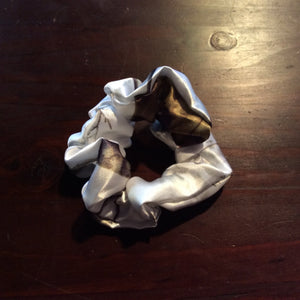 Satin white camouflage Scrunchie