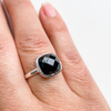 Ring onyx facet square sterling silver