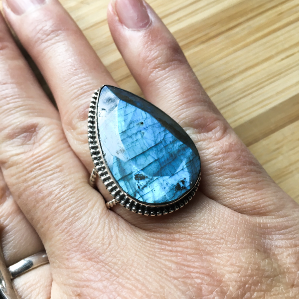 Ring labradorite large tear drop sterling silver