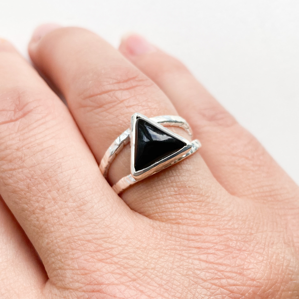 Ring black tourmaline triangle double band sterling silver