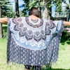 Light Poncho Blue, Black & White