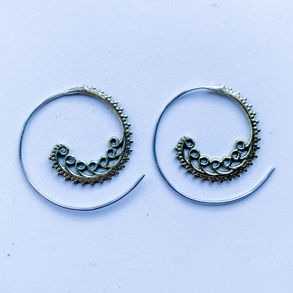 Earrings brass spiral feather (hanger is sterling silver)