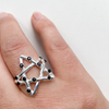 Ring pentacle woven with black tourmaline sterling silver