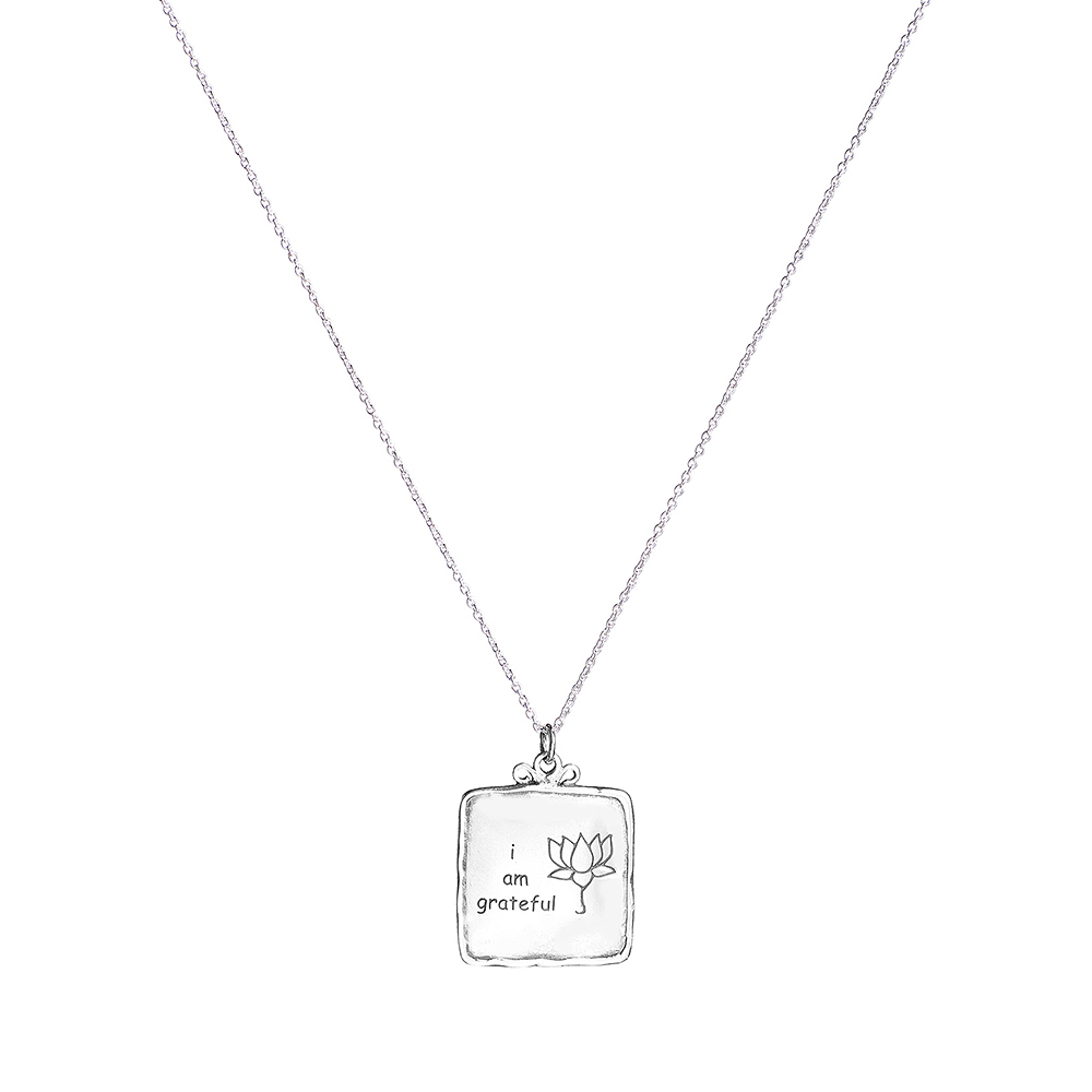 Necklace 'I am Grateful' Lotus Square Sterling Silver