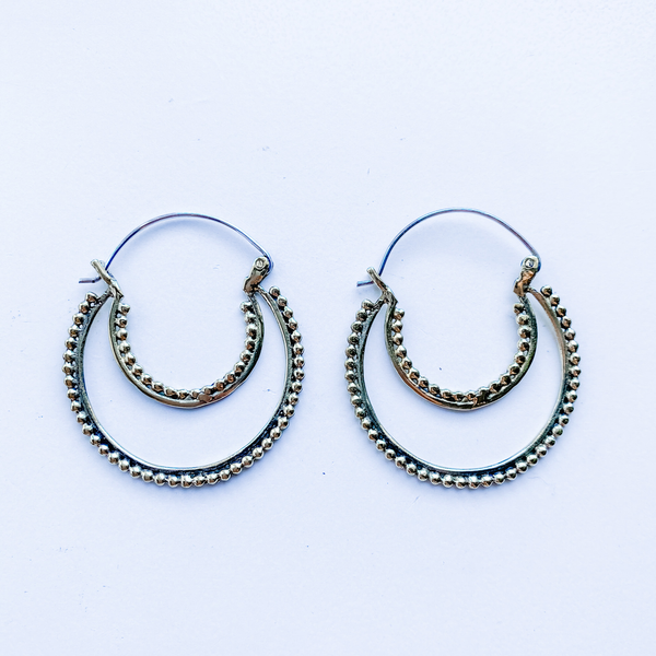 Earrings brass crescent moon
