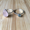 Ring set rose quartz drop with apatite round sterling silver