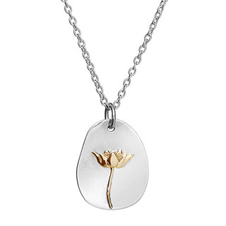 Necklace lotus tag sterling silver & brass
