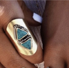 Ring turquoise double triangle sterling silver