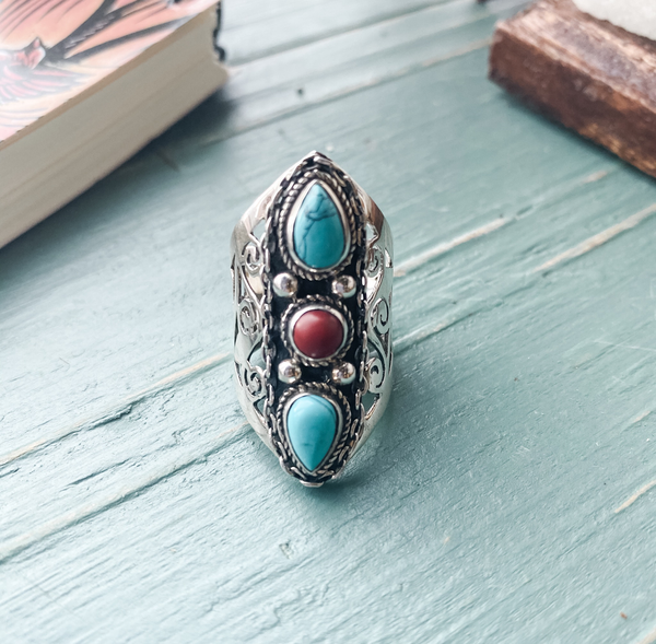 Ring 3 stone turquoise/coral sterling silver