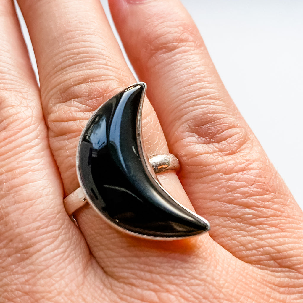 Ring onyx moon sterling silver