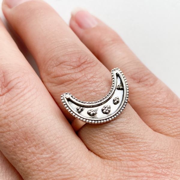 Ring crescent moon filagree sterling silver