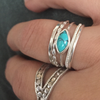 Ring 5 band turquoise sterling silver