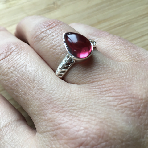 Ring pink tourmaline tear drop sterling silver