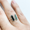 Ring green tourmaline raw double open band sterling silver
