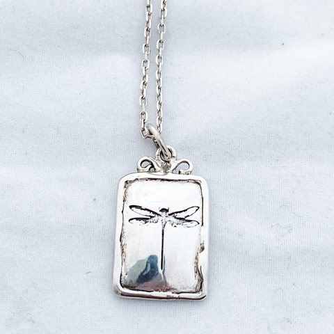 Necklace dragonfly square sterling silver