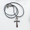 "Necklace Ankh stainless steel on 24"" black cord"