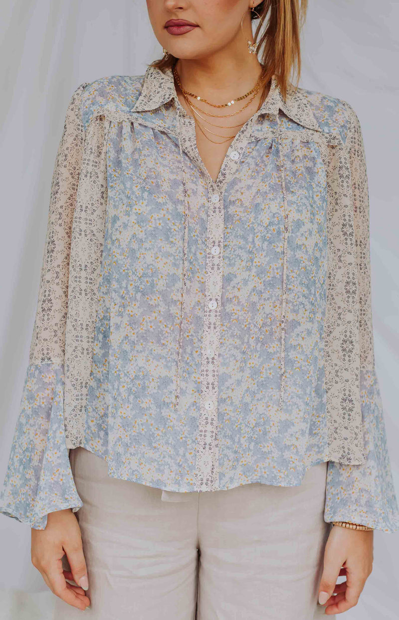 Nirvana Floral Print Long Sleeve Button-Up Top - Blue Combo
