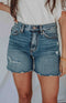Fun Weekend High Rise Cutoff Denim Shorts - Medium Wash