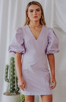 August Apparel: Make It Known Puff Sleeve Mini Dress - Lilac