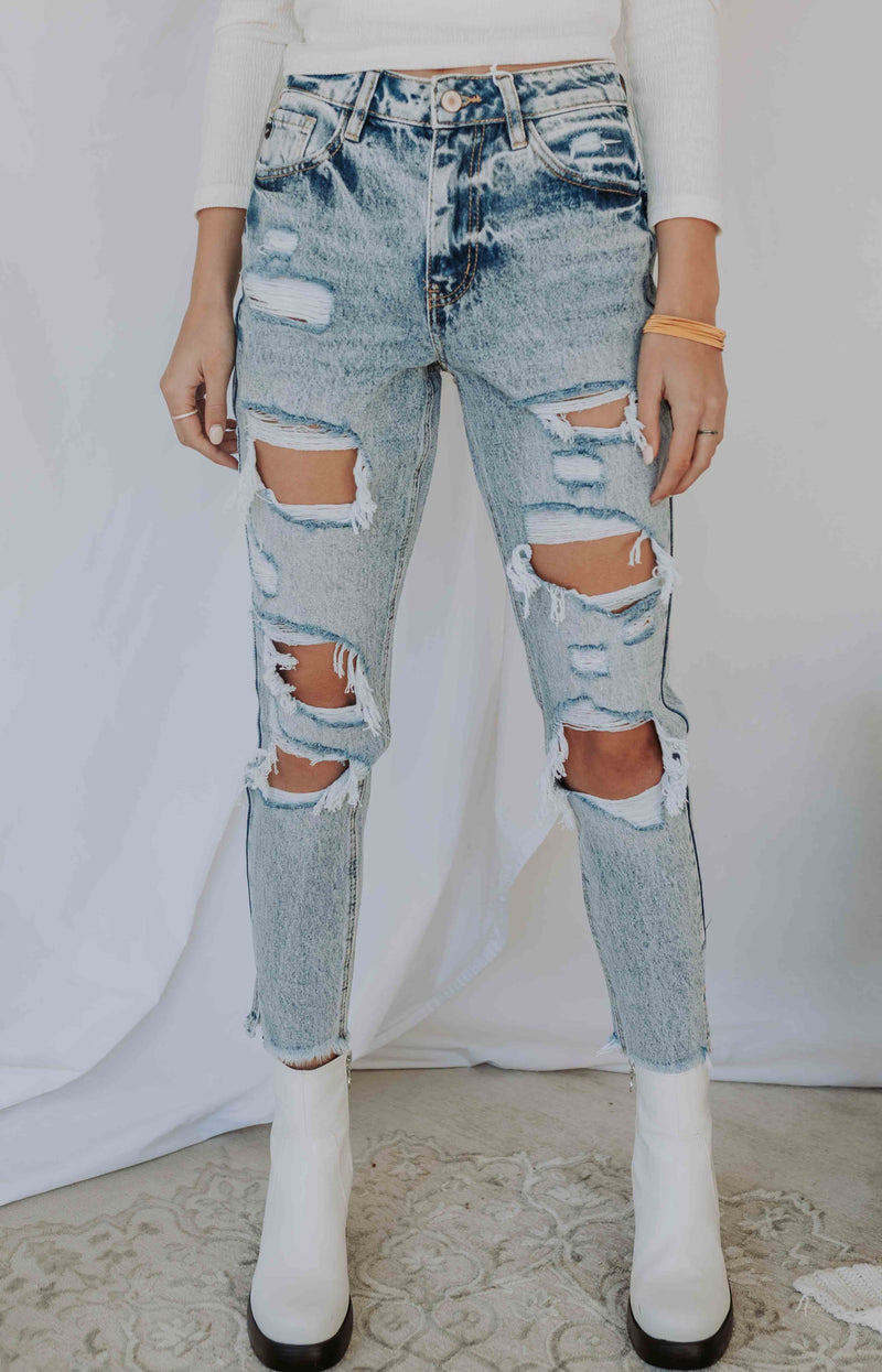 Simply Savvy High-Rise Distressed Jeans - Medium Wash