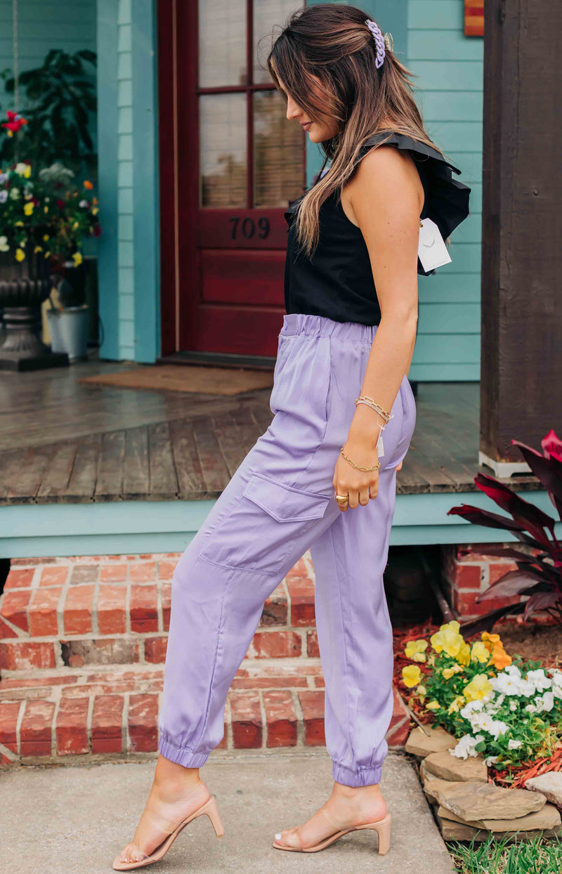 Smooth Moves Satin Cargo Jogger Pants - Lavender