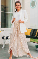 August Apparel: Properly Polished Polka Dot Wide-Leg Pants - Beige