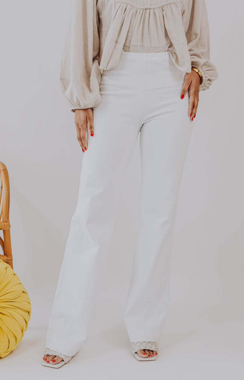 Lyssé: Bright Side High-Rise Flare Jeans - White