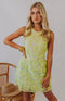 August Apparel: Darling Delight Floral Crochet Lace Skater Dress - Limeade