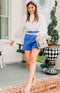 August Apparel: Off the Clock High-Waisted Shorts - Blue