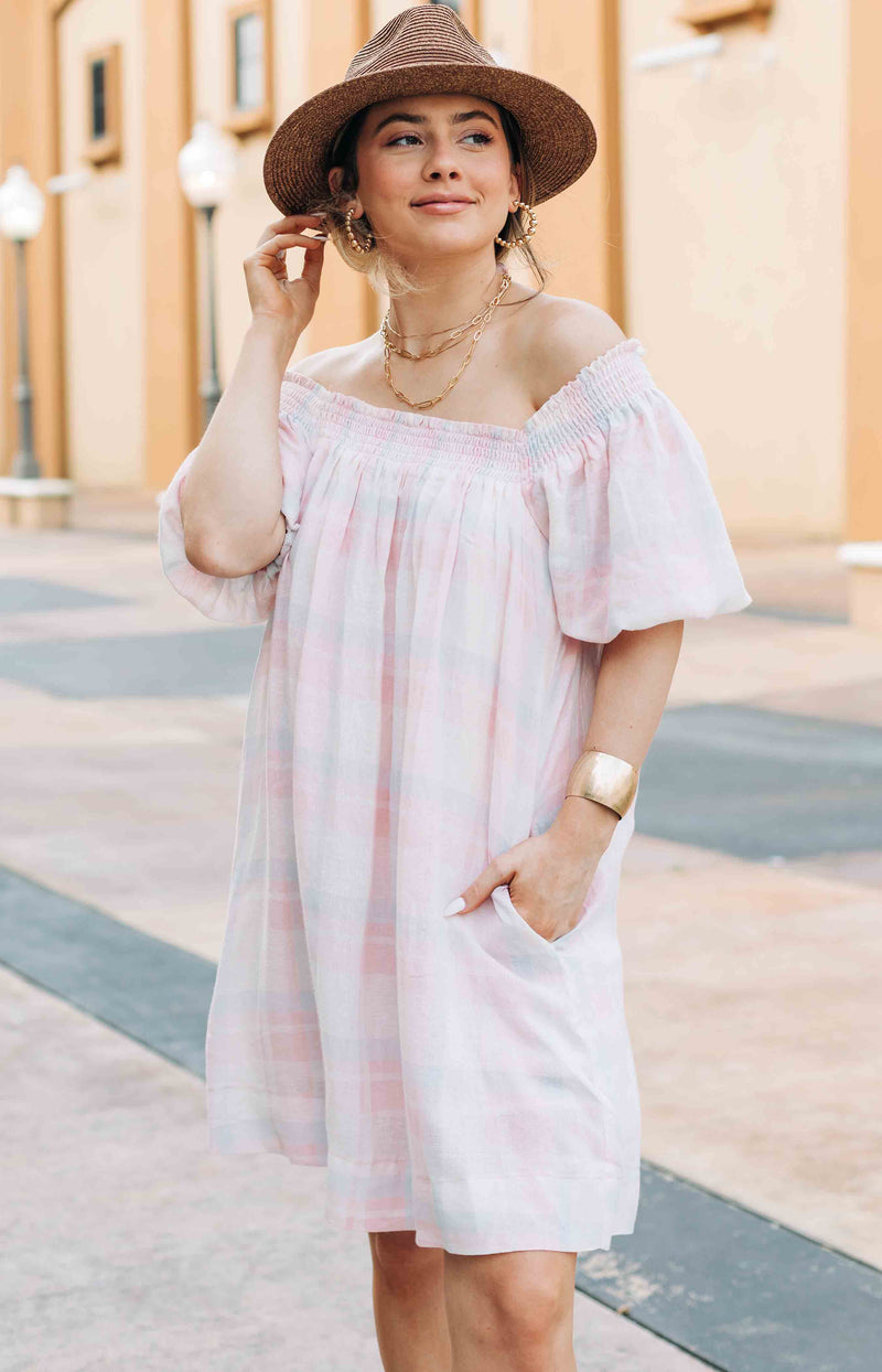 Everything's Rosy Gingham Off-the-shoulder Mini Dress