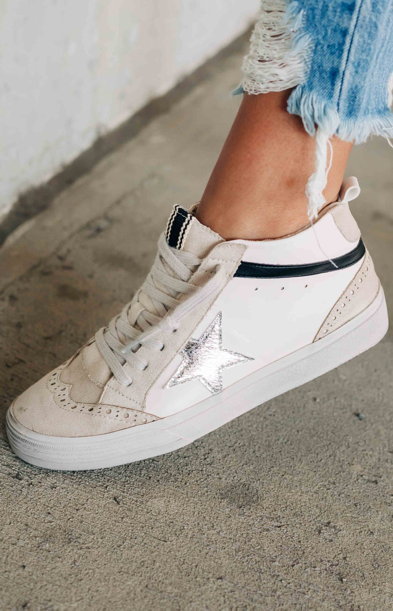 Shu Shop: Lucille Suede Leather Star Sneakers - White