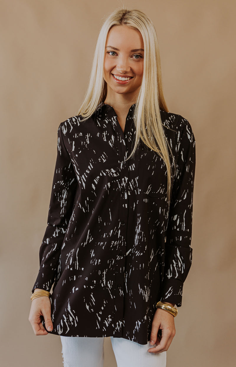 Sea Ya Later Long Sleeve Button-Up Top - Black