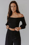 In a Mood Smocked Surplice Crop Top - Black