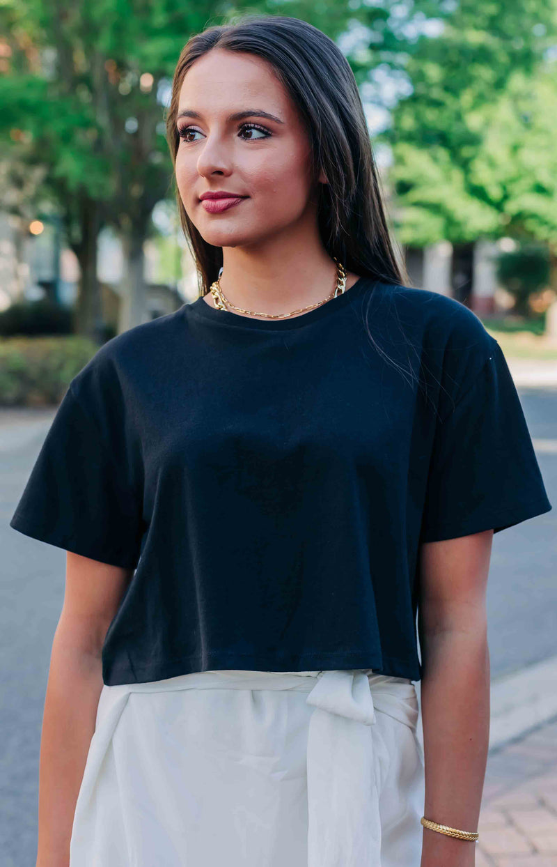Staying Cool Short Sleeve Cropped Tee - Black