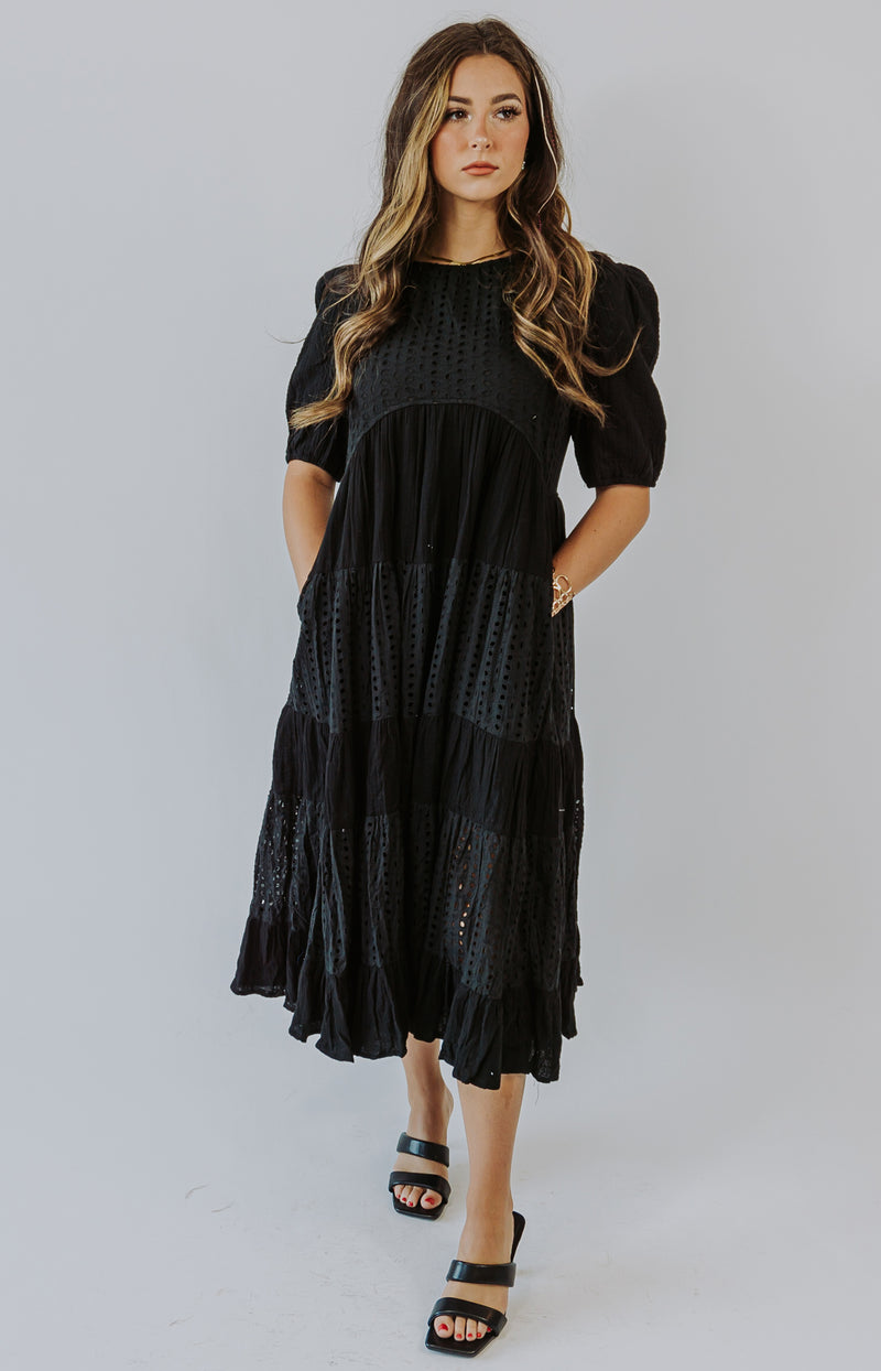 Endless Rose: Always Entertaining Eyelet Puff Sleeve Top - Black