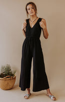 Dreamy Destination Sleeveless Jumpsuit - Black