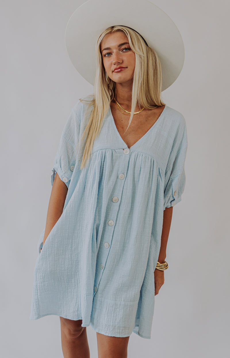 Happy Days Short Sleeve Button-Up Top - Light Chambray