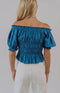 Karlie: Match Maker Smocked Ruffled Crop Top - Teal