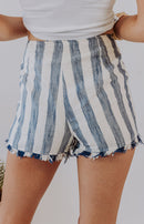 Cruising Along Striped High-Waisted Shorts - Blue Combo