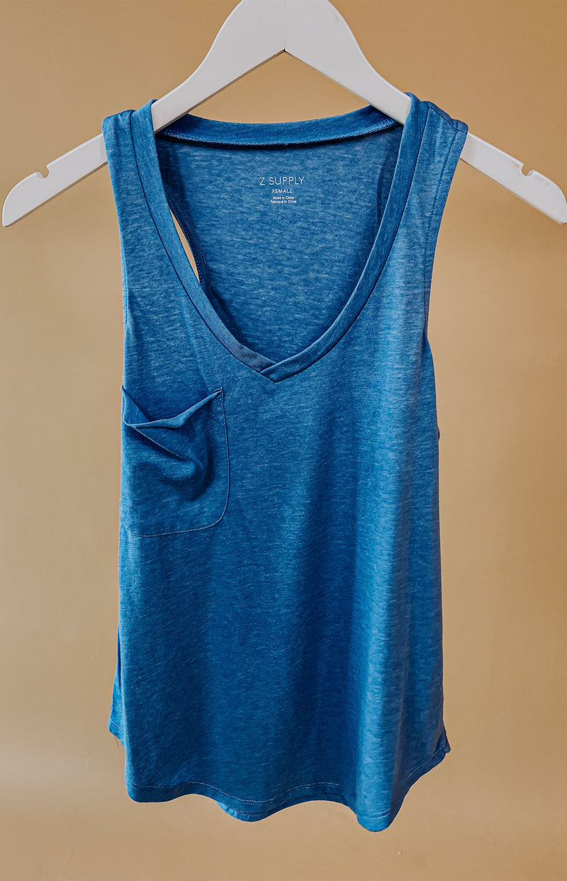 At Last Cowl Neck Cami Top - Blue