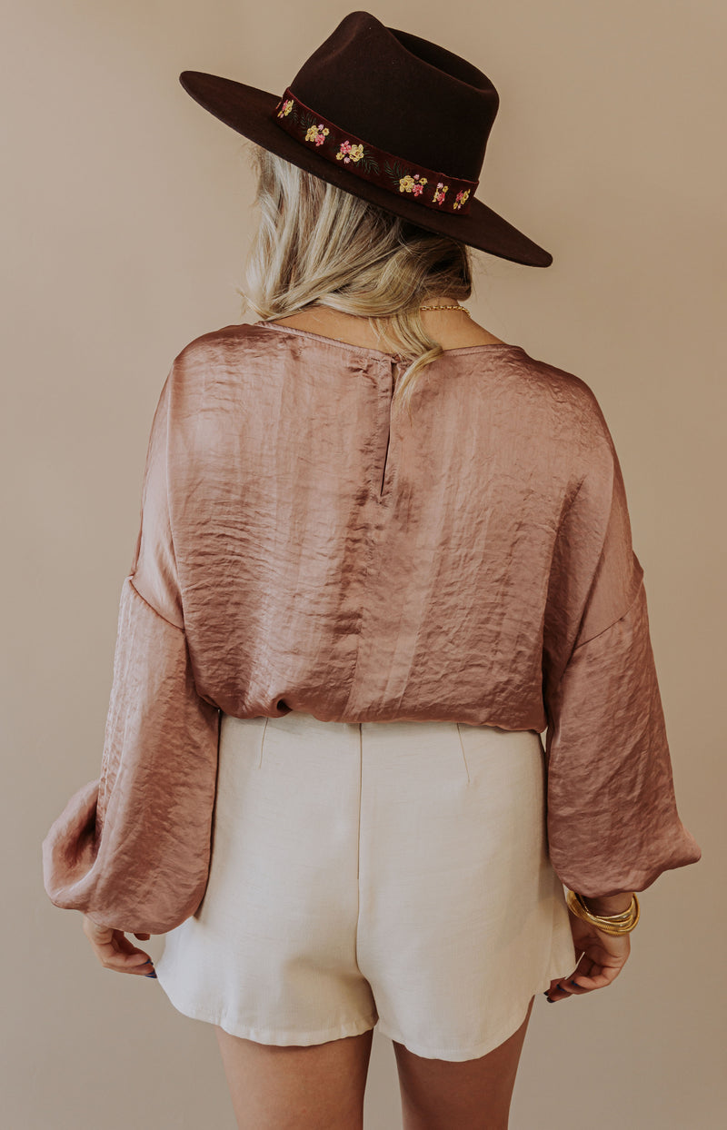 Sassy and Classy Sheer Tie-Neck Blouse - Pink