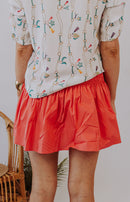 Smock in the Park Smocked Ruffle Mini Skirt - Coral